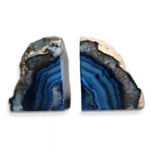 Agaat blauw gedyed met bergkristal boekensteun 11cm.