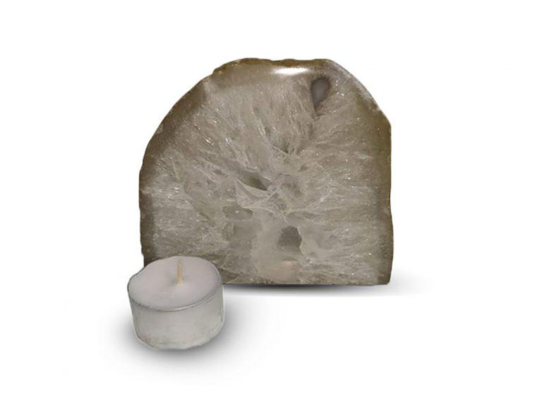 Agaat met bergkrisal theelicht