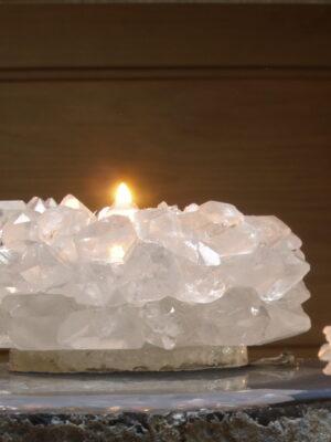 Bergkristal theelicht puntkristallen 10 x 4.5cm
